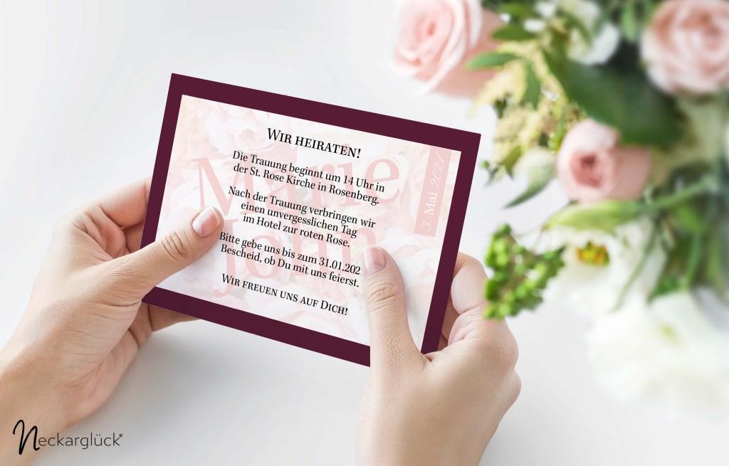 Einladungskarte zur Hochzeit der Serie Floral Explosion von Neckarglück