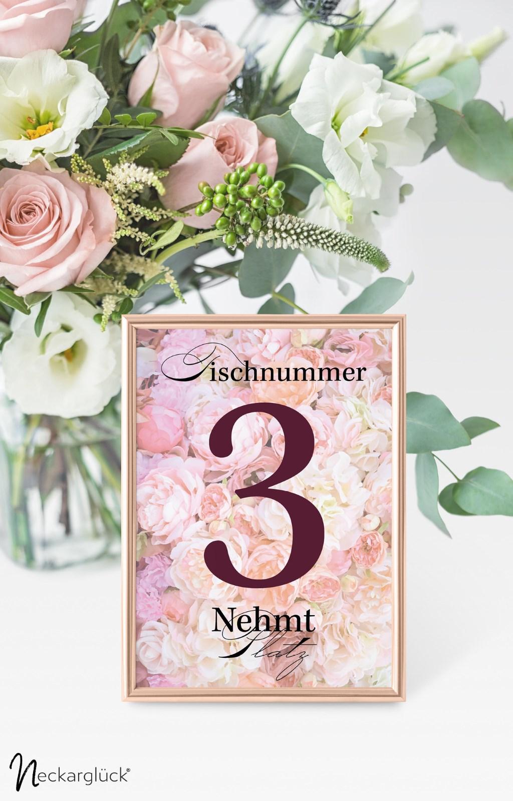 Tischnummernkarte der Serie Floral Explosion von Neckarglück